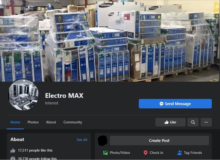 Tienda electrónica hogar (Electro Max) | Estafadores múltiples páginas de Facebook