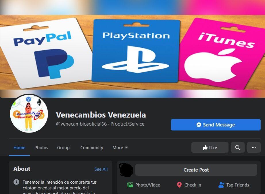 Página de Facebook estafadora | Venecambios Venezuela
