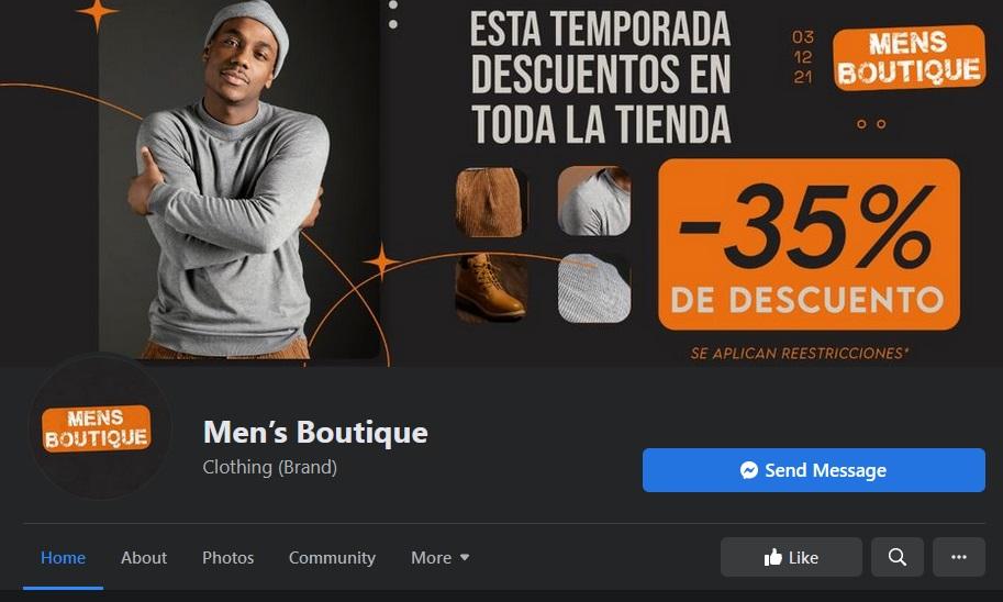 Men´s Boutique | Página estafadora de facebook (México)