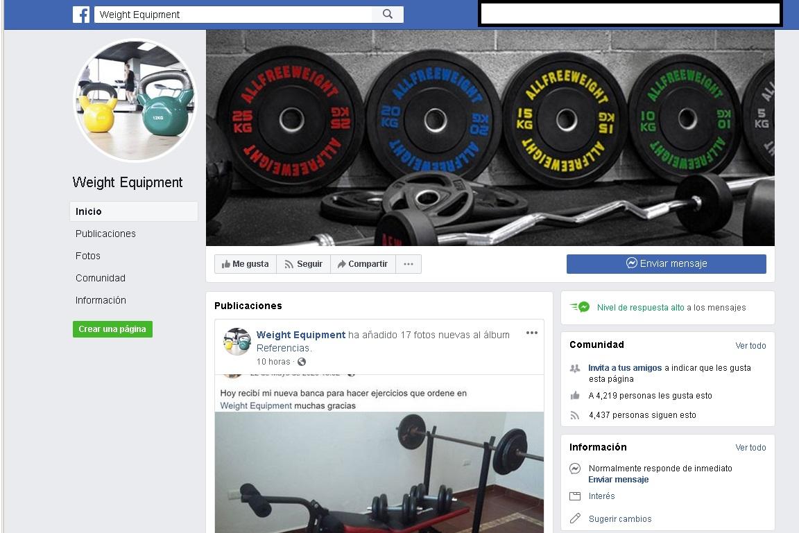 Weight Equipment – Página de facebook | Estafa