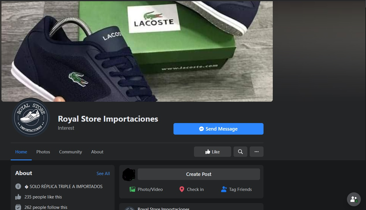 Royal Store Importaciones | Estafadores | Página de Facebook